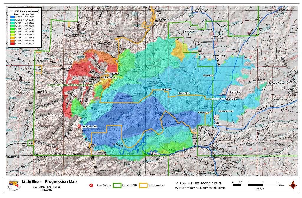 Little Bear Fire June 20, 1023 hr Progression Map   NM Fire Info
