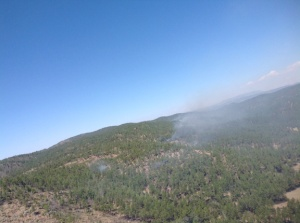Smoke on Spur Fire during Thursday flight over the area