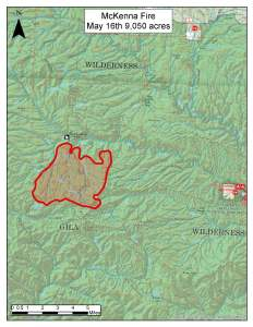 Map shows fire perimeter on McKenna Fire 5/16/16