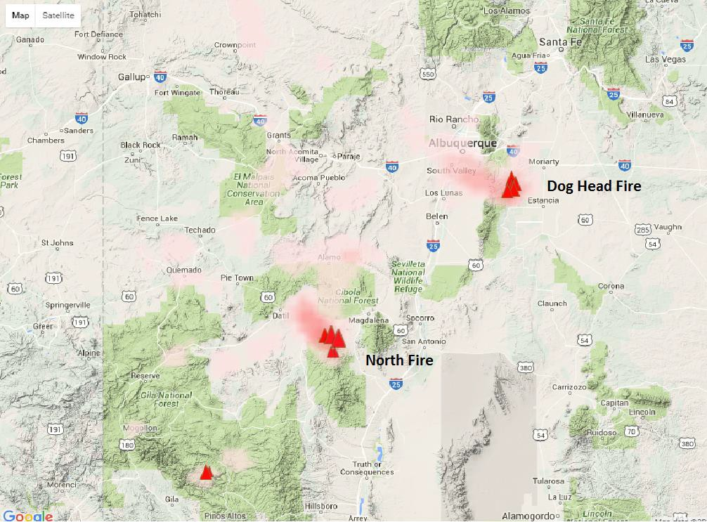 June 19th Projected Smoke Impacts for the Dog Head and North Fires Cibola National Forest Map on