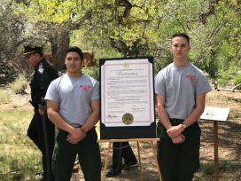Members of the Youth Conservation Corps read the Governor's proclamation on Wildfire Awareness Week.