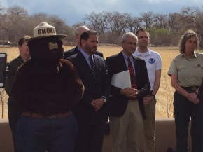 Smokey Bear with New Mexico Lt. Governor John Sanchez & EMNRD Cabinet Secretary Ken McQueen