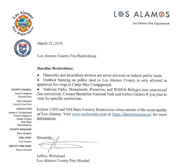 Los Alamos_Baseline Restrictions_2018