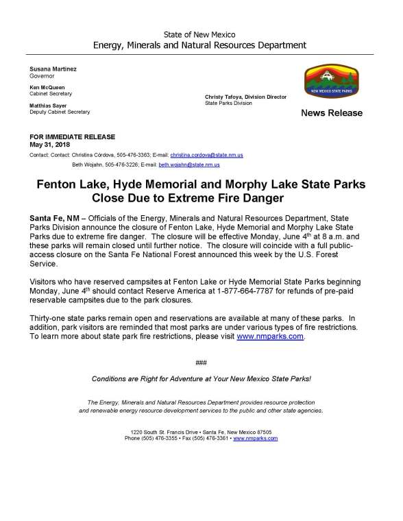 Fenton Lake, Hyde Memorial and Morphy Lake State Parks Closed Effective 4 Jun