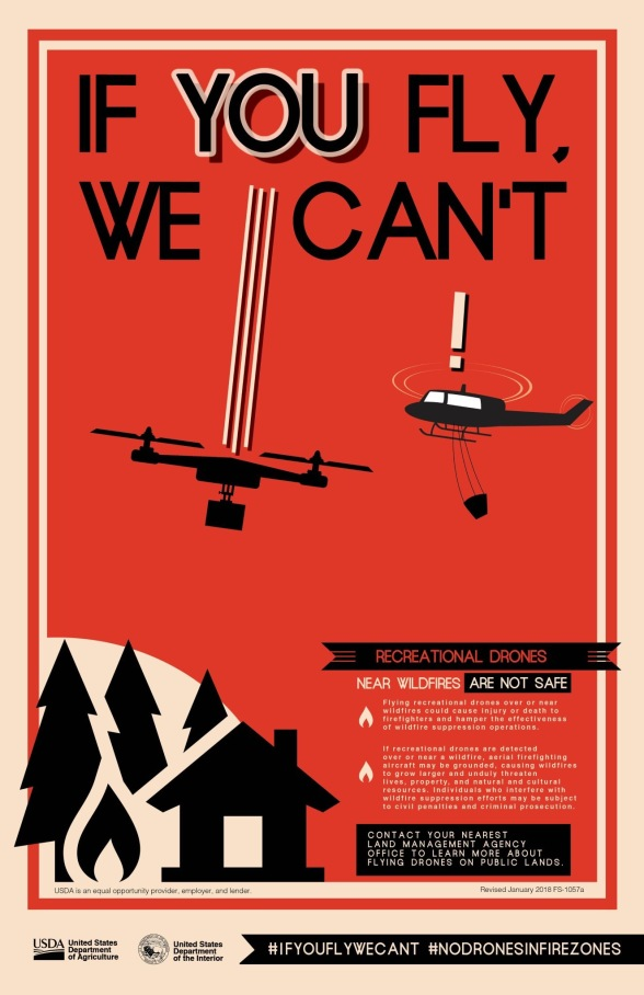 Poster of a drone and a helicopter dropping water on a house on fire in a near mid-air collision