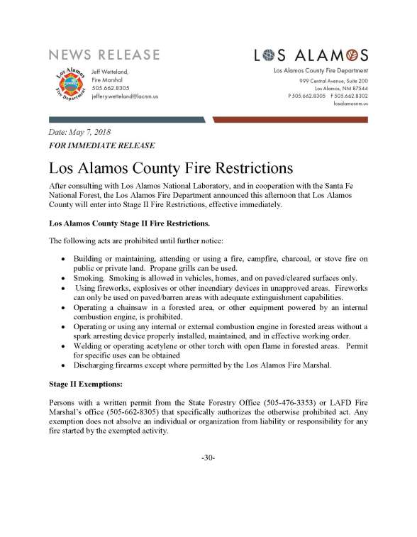 Stage II Fire Restrictions.Los Alamos.Press Release