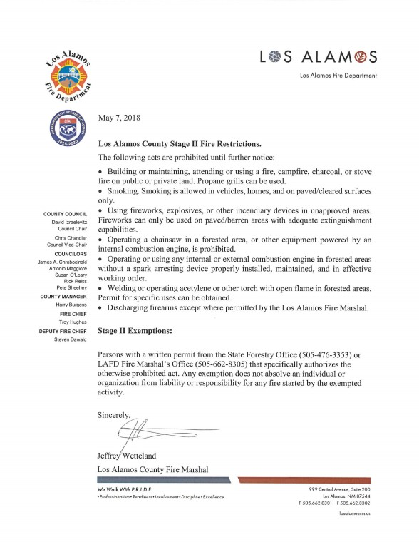Stage II Fire Restrictions Los Alamos