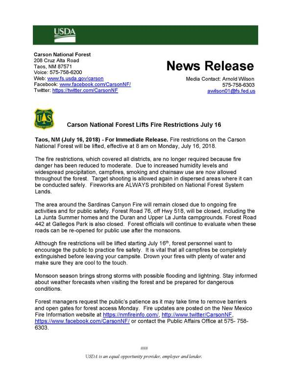 071618_Carson National Forest Lifts Fire Restrictions