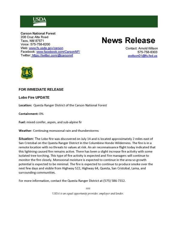 071818 Lobo Fire Update