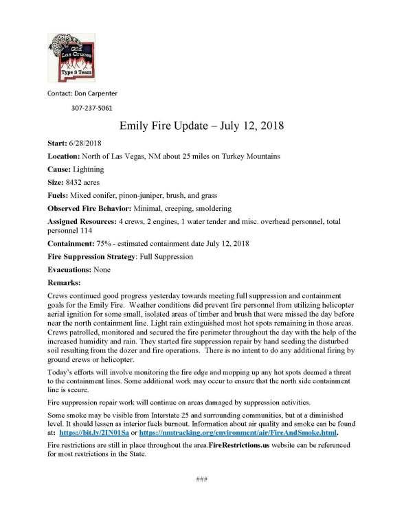Emily Fire.press release.7-12-2018