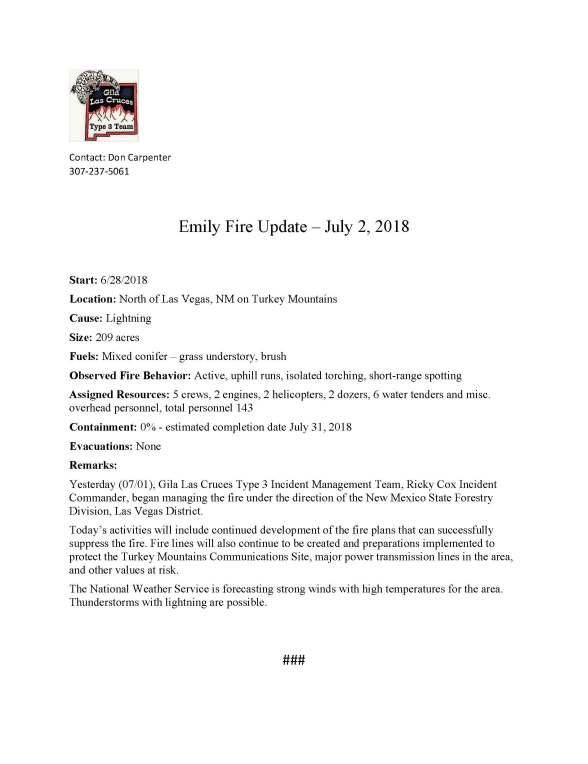 Emily Fire.press release. 7-2-2018