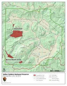 Map showing locations prescribed burns within Valles Caldera National Preserve.