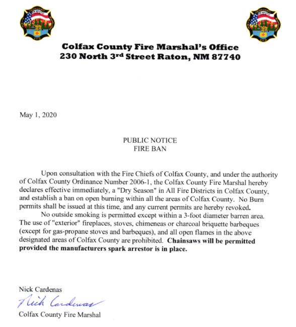 Colfax County Burn Ban 04.30.20