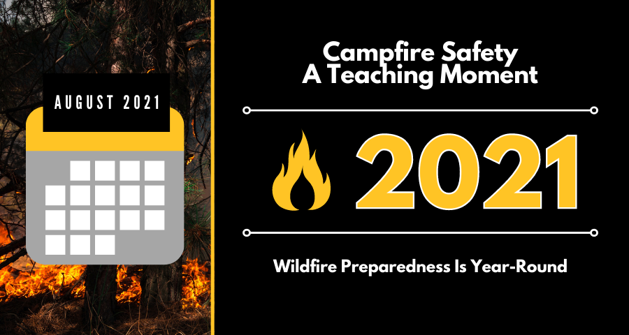 Campfire safety is a teaching moment - August graphic showing calendar